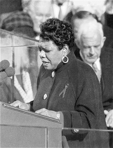 "Maya Angelou recites her poem, ""On the Pulse of Morning"", at the 1993 presidential inauguration"